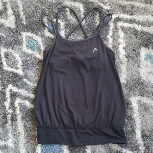 Head black workout tank with built-in sports bra